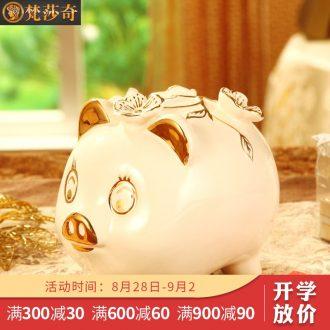 Vatican Sally's European ceramics gold baby pig piggy bank furnishing articles birthday gift a money-box piggy bank