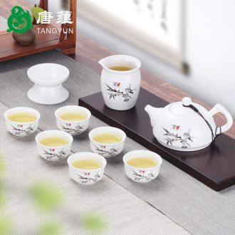 Dehua county tang yun ding kiln tea set household contracted tureen tea cups kung fu tea set ceramic tea POTS bowl