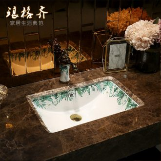 Koh larn, qi undercounter square embedded ceramic lavabo household basin bathroom small lavatory basin