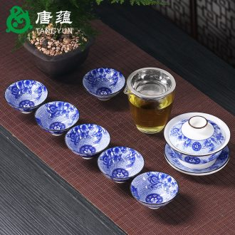 Kung fu tang yun single tureen large tea cups for blue and white porcelain tea bowl of white porcelain only three ceramic tea set