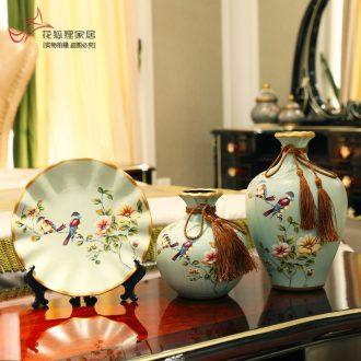 European rural three-piece ceramic vase restoring ancient ways of TV ark wine American soft adornment handicraft furnishing articles