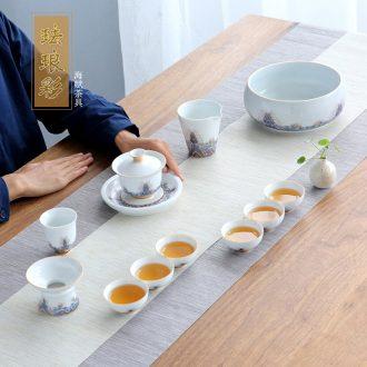 Colored enamel was suit household kunfu tea contemporary and contracted style tea ceremony jingdezhen ceramic teapot teacup