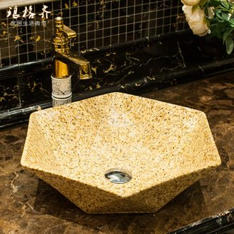 Koh larn qi stage basin sink ceramic lavatory hexagonal art to the basin that wash a face imitation marble basin toilet