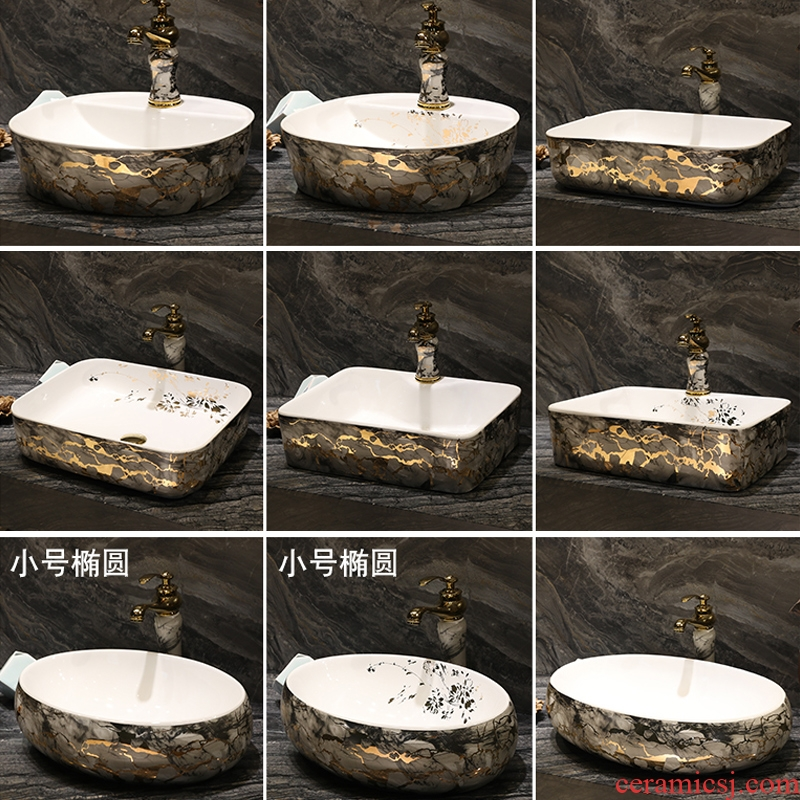 On the ceramic basin of Chinese style restoring ancient ways of household square fashion art toilet lavabo wash dish washing basin