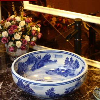 Restore ancient ways round ceramic stage of song dynasty tuba basin toilet lavabo household creative basin of wash one blue and white