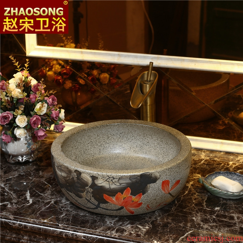 Chinese style restoring ancient ways of song dynasty ceramic lavabo thickening outdoor stage basin bathroom wash basin of continental basin