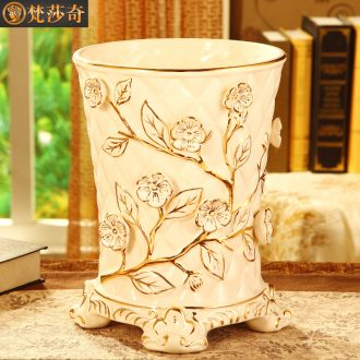 Vatican Sally's luxury european-style trash can creative home sitting room large-sized ceramic bin bedroom study toilet