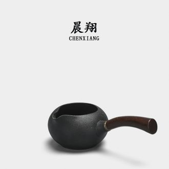 Morning cheung wood the side the points tea exchanger with the ceramics fair mug cup and cup of black tea sea large size one kung fu tea set