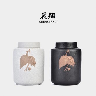 Chen xiang tea set coarse pottery caddy large ceramic POTS of pu 'er tea box sealed cans and receives moistureproof