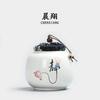 Chen xiang sealed ceramic tea caddy box travel warehouse storage tank pu 'er tea pot receives tea set