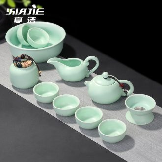 Xia Jieding inferior smooth fat white tea set a complete set of ceramic kiln kung fu tea cup lid bowl household porcelain