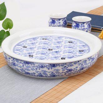 Four-walled yard ceramic tea tray kung fu tea set solid wood tea tea table tray bamboo sea saucer kembat