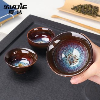 Four-walled yard noggin suit household ceramics fine gold kung fu bowl sample tea cup tea hat to master cup
