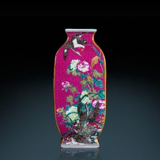 Jingdezhen ceramics vase imitation qianlong year archaize square bottle after classical Chinese style sitting room adornment is placed