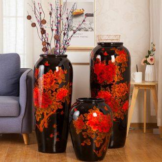 Jingdezhen ceramics of large vase furnishing articles sitting room hotel dry flower arranging new Chinese style large porch decoration