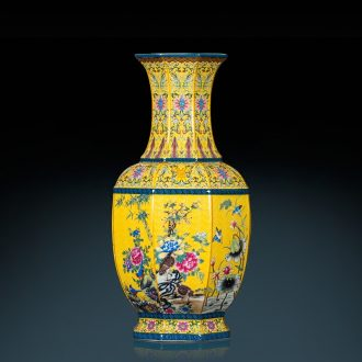 Jingdezhen ceramics eight square bottle of large antique imitation qianlong vase Chinese style classical sitting room adornment is placed