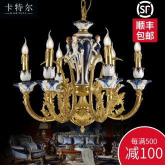 French creative copper chandelier european-style luxury bedroom sitting room dining-room all ceramic lamps and lanterns villa hotel full copper chandelier