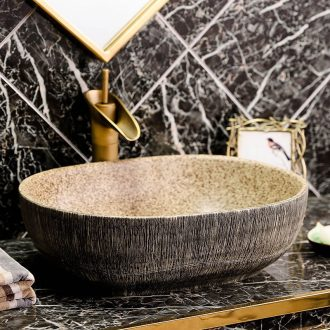 Basin of wash one on the oval ceramic face basin of Chinese style antique art creative toilet toilet dish washing basin