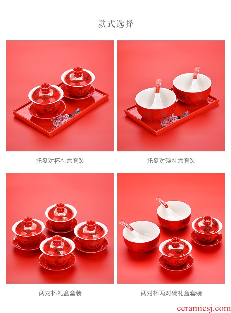 East west tea pot of red ceramic tureen married longfeng to cup double bowl suit wedding gift box shifted to worship the teacup