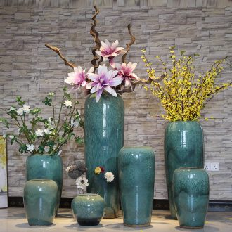Dried flower color glaze kiln ceramic sitting room ground vase vase modern European hotels flower arranging large vases, furnishing articles