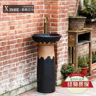 Ceramic pillar lavabo washing basin floor hotel balcony outdoor vertical column basin of restoring ancient ways is a body art