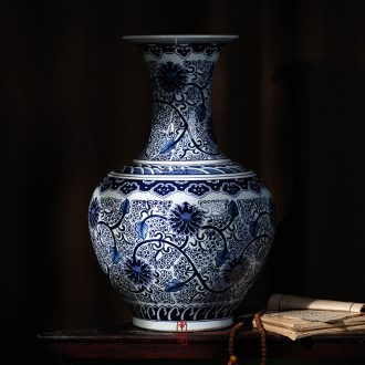 Jingdezhen ceramics antique hand-painted place to live in the sitting room is blue and white porcelain vase flower arranging TV ark decoration decoration