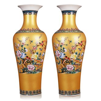 Classical jingdezhen ceramics enamel Mosaic gold vase painting of flowers and 1 meter landing large sitting room hotel gift ceremony