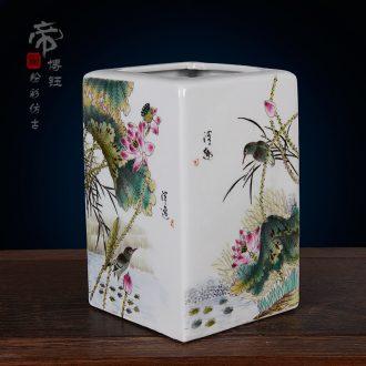 Jingdezhen ceramics imitation qing qing qianlong pastel hand-painted lotus boring vase archaize home handicraft furnishing articles