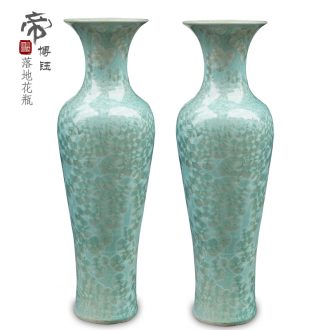Jingdezhen ceramics crystalline glaze color of large vase furnishing articles opening gifts of contemporary sitting room blue 1 meter