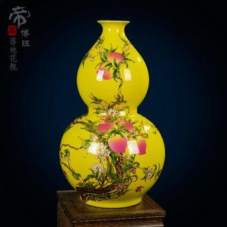 Jingdezhen ceramic vase enamel vase peach yellow glaze floor vase home sitting room hotel furnishing articles