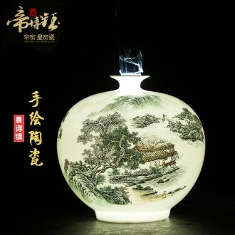Jingdezhen ceramics master of high-grade hand-painted pastel landscape pomegranate flower vase household decoration crafts are sitting room