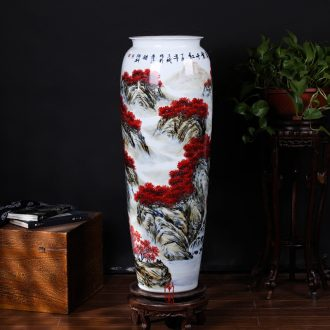 Hand-painted youligong landscape wax gourd bottle of jingdezhen ceramics Chinese style living room villa clubhouse interior furnishing articles arranging flowers