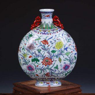 Jingdezhen porcelain factory goods cultural revolution hand-painted porcelain dou colors lotus flower grain ears flat bottle vase home furnishing articles