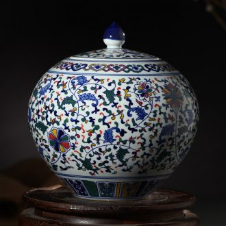 Jingdezhen blue and white porcelain ceramic vase storage tank cover pot pot furnishing articles household act the role ofing is tasted sitting room adornment vessels