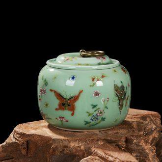 Jingdezhen ceramics pea green archaize caddy storage tank snack jars household adornment handicraft furnishing articles