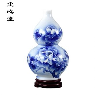 Dust heart of jingdezhen ceramics Wu Wenhan hand-painted gourd national color blue and white porcelain vase peony Chinese style decoration