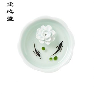Dust heart hand draw 3 d incense inserted jingdezhen ceramic resin paint fish small present new Chinese style to send dry landscape