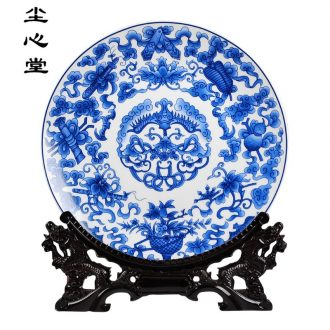 Dust heart 35 cm ruyi hang dish of blue and white porcelain of jingdezhen ceramics decoration plate modern classical Chinese style