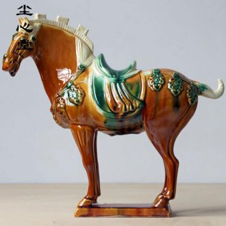Dust heart ceramic Ma Luoyang tang sancai horse furnishing articles sanhua business gifts household geomantic turn BMW town house