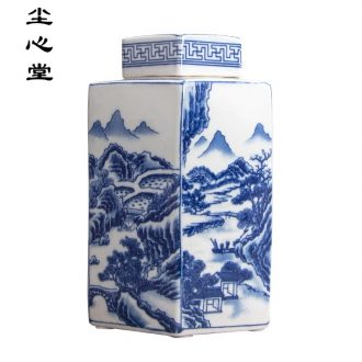 Dust heart Chinese antique blue and white porcelain tea pot vessel storage tank is restoring ancient ways furnishing articles rich ancient frame jingdezhen sitting room