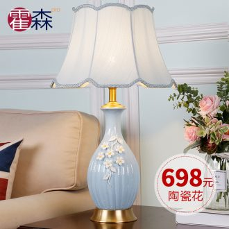 Pale blue handmade ceramic creative romantic european-style full copper lamp American sitting room sweet bedroom berth lamp