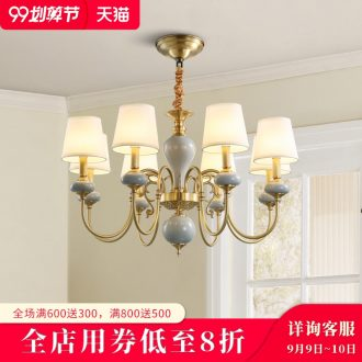 American whole copper chandelier ceramic light sitting room luxury atmosphere contracted and contemporary creative villa household lamps and lanterns of dining hall