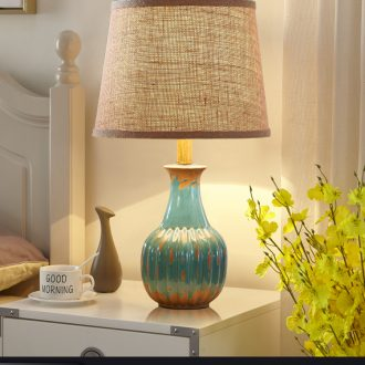 American restore ancient ways small desk lamp bedroom berth lamp European ceramic contracted and contemporary sitting room warm warm light married marriage room