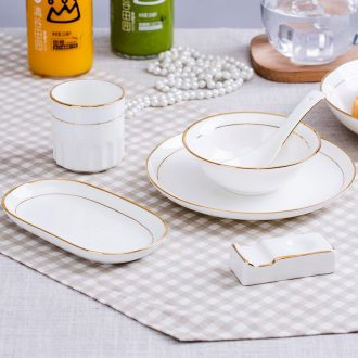 Jingdezhen porcelain hotel desk tray is placed bone bowl spoon set a full range of available fuels the tableware of western-style restaurant LOGO
