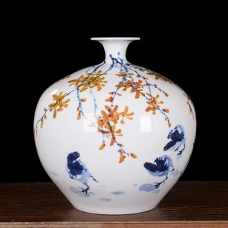 Jingdezhen ceramics high-grade modern master hand-painted pomegranate flower vase household decoration as the sitting room furnishing articles