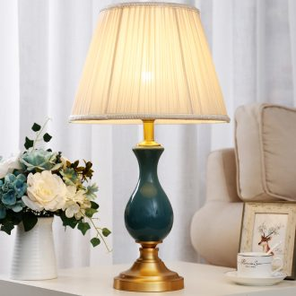 European-style full copper ceramic desk lamp American fashionable sitting room adornment bedroom berth lamp warm study of new Chinese style remote control