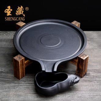 St, Tibetan tea tray millstones household contracted ceramic dry set round kunfu tea set tea sea solid wood tea saucer dish