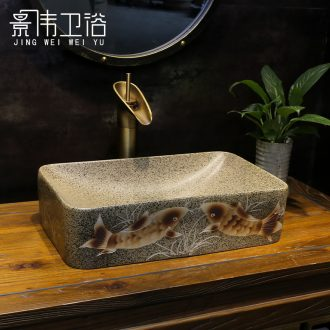 Ceramic art stage basin, rectangular dot Chinese sink sink restoring ancient ways is frosted water-wave basin