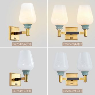 Emperor take wall lamp sitting room double wall lamp single head background wall of bedroom the head of a bed lamp ceramic copper wall lamp