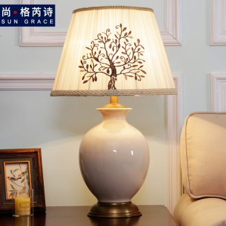 Contracted and contemporary ceramic desk lamp light sweet desk lamp of bedroom the head of a bed rural creative wedding table lamp sitting room lamps and lanterns